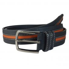 Orange Stripe Grained Pattern Genuine Leather Black Belt for Men