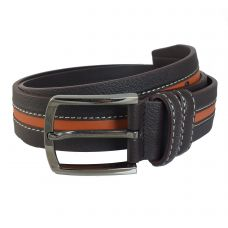 Orange Stripe Grained Pattern Genuine Leather Dark Brown Belt for Men