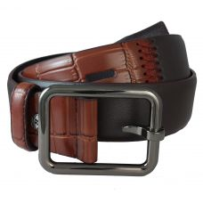 Duo Pattern Brown Shade Designer Exclusive PU Leather Belt