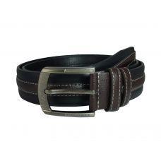 Contrast Stitches Heavy Duty Black & Brown Heavy Duty PU Belt for Men