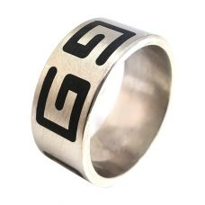 316L Stainless Steel Alloy Greek Symbol Thick Band Ring