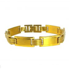 Gold Foamed Linked Badges Elegant Luxury Bracelet for Men