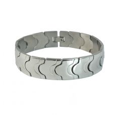 Thick and Broad 316L Stainless Steel Loop Flat Links  Bracelet for Men