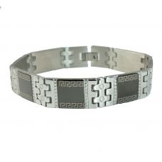 Ornated Greek Symbol Two-Tone Bracelet for Men