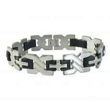 Silicon Coated Cross  316L Stainless Steel Bracelet for Men