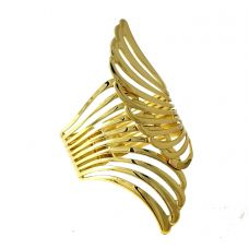 Open Wings Gold Foamed Wide Open Statement Cuff Bracelet for Women