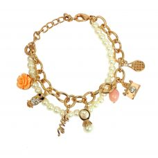 Pearl String Gold Foamed Cable Links Owl Charm Adjustable Bracelet for Women-FBRLT2