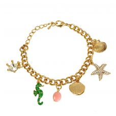 Ocean Inspired Charms  Gold Foamed Wheat Links Chain Adjustable Bracelet for Women