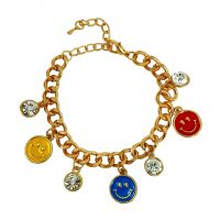 Multi Coloured Smileys Charm Gold Foamed Bracelet for Women-FBRLT8