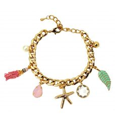 Delightful Hanging Charms Gold Foamed Wheat Links Bracelet for Women