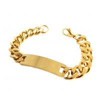 Gold-Foamed 316L Stainless Steel Badge Bracelet for Men
