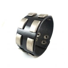 Metal badges thick and broad bracelet for men