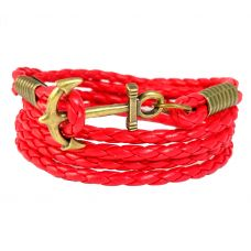 Brass Anchor Multi Strands Red Faux Braided Leather Bracelet For Men