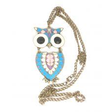 Multicolour Enameled Owl Pendant Necklace for Women