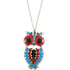 Owl Dynasty-Multicolour Enameled Owl Pendant Necklace for Women