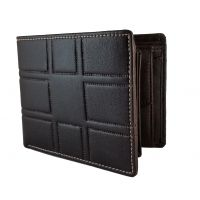 3D Pattern Genuine Leather Brown Wallet for Men