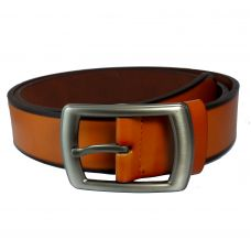 Broad Buckle Orange PU Leather Belt For Men