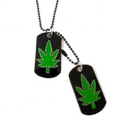 Cannabis Nation Green & Black Designer Dog Tag