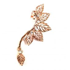 Rose Gold Dangling Leaves Designer Ear Cuff (Left ear only)