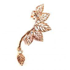 Rose Gold Dangling Leaves Designer Ear Cuff (Left ear only)