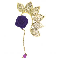 Multi Leaves Golden Ear Cuff with Purple Rose Charm