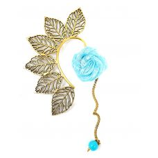 Multi Leaves Golden Ear Cuff with Azure Blue Rose Charm