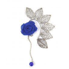 Multi Leaves Silver Coloured Ear Cuff with Indigo Blue Rose Charm