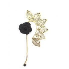 Multi Leaves Golden Ear Cuff with Black Rose Charm