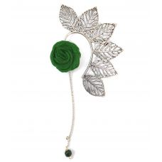Multi Leaves Silver Coloured Ear Cuff with Green Rose Charm