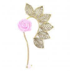 Multi Leaves Golden Ear Cuff with Baby Pink Rose Charm