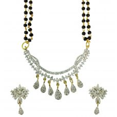 Hanging Drops Set of Exclusive American Diamond Mangalsutra with Earrings
