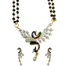Set of Designer AD Open Wings  Peacock Mangalsutra with Earrings