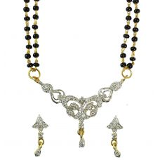 Set of  Exclusive American Diamond Mangalsutra with Earrings