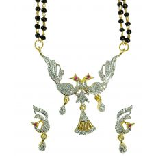 Set of Silver Twin Peacock  Delightful Mangalsutra with Earrings