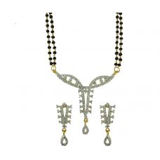 Set of  Delightful Designer AD Mangalsutra with Earrings