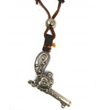 Old School Designer Gun Adjustable Leather Necklace