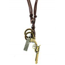 Revolver Pendant Adjustable Leather Necklace