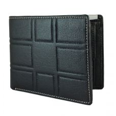 3D pattern genuine leather Black Wallet for Men