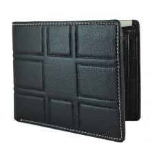 3D pattern genuine leather Black Wallet for Men