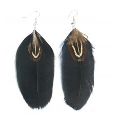 Black and Brown Feather Earrings for Women