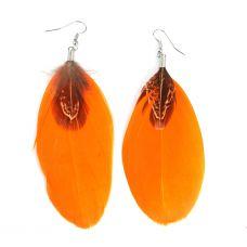 Fire Orange & Brown Feather Earrings for Women