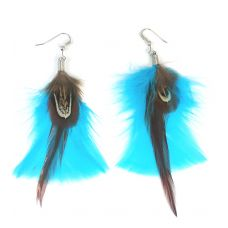 Azure Blue-Brown Tail Feather Earrings for Women