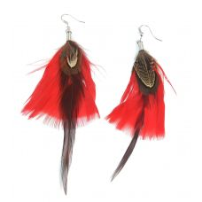 Red & Brown Feather Earrings for Women