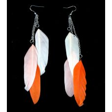 Tri-Orange Shades Designer Feather Earrings for Women
