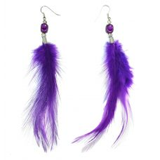 Purple Feather Earring for Women