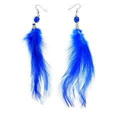 Indigo Blue Feather Earring for Women